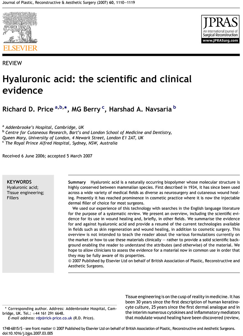 Systematic Review articles of Hyaluronic acid effects on